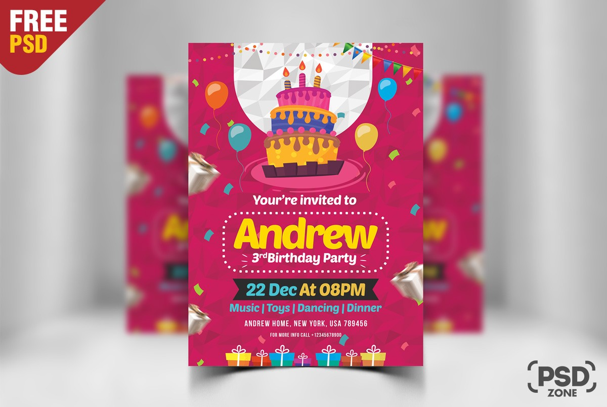 Birthday Flyer Template PSD Download - Download PSD