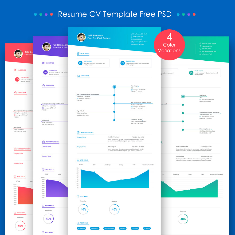 Web Design Resume Template Free Download 25 Best Free Resume Cv Templates Psd Download Download Psd