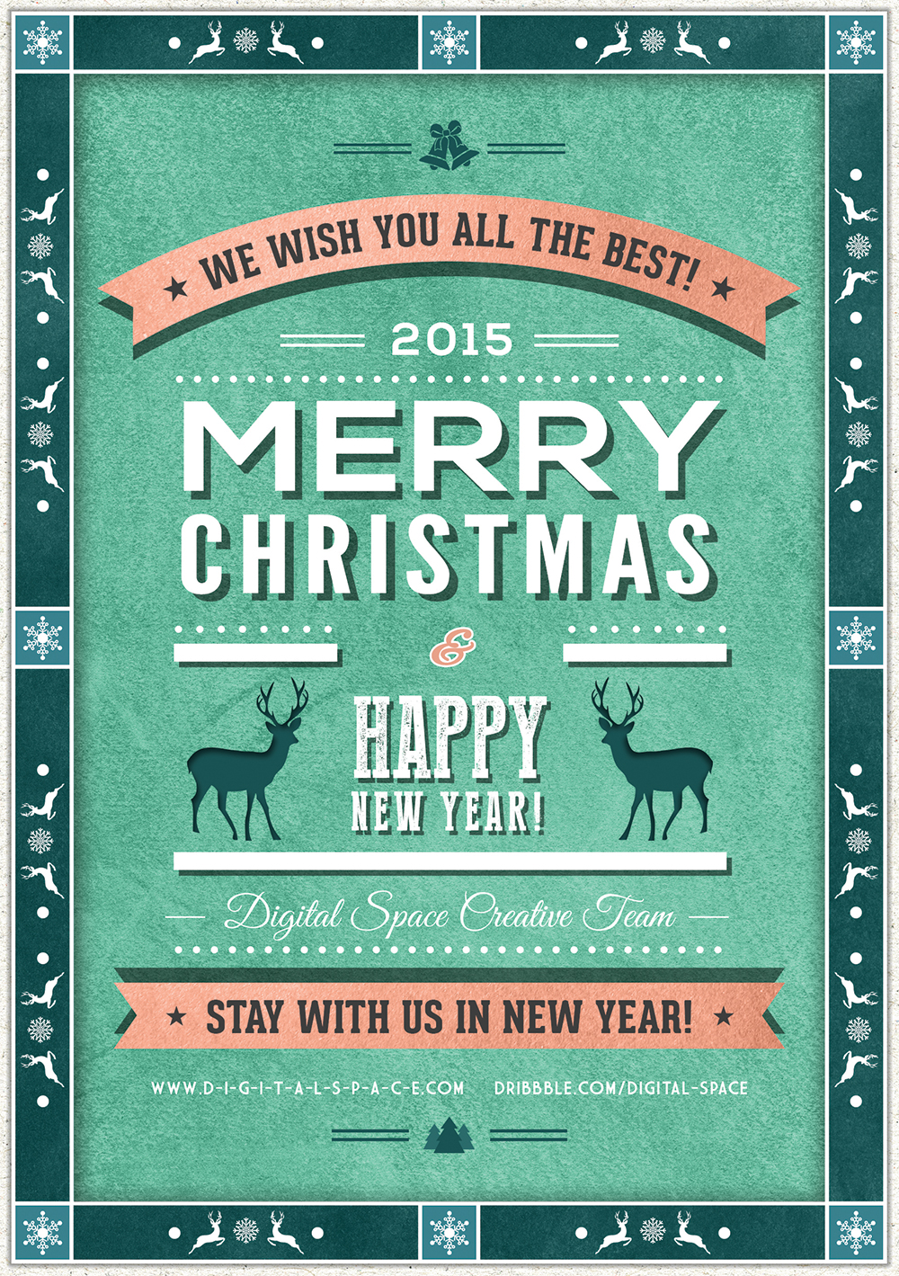 Retro Style Christmas And New Year Flyer Psd
