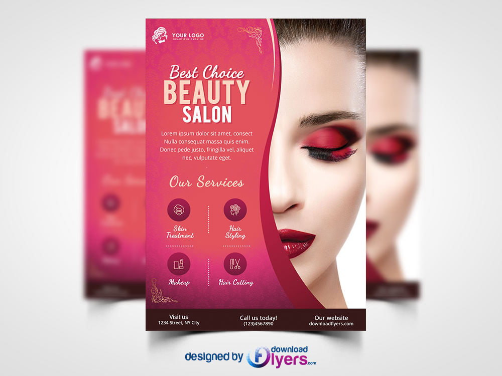 Beauty Salon Flyer Template Free PSD Download PSD