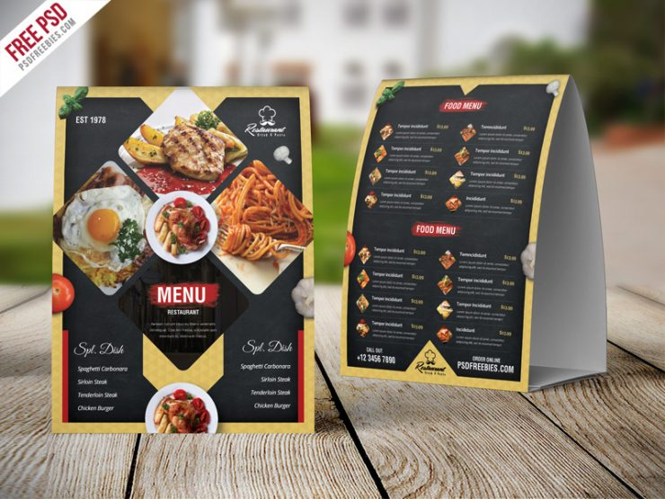 Restaurant Menu Table Tent Card PSD Template Download PSD