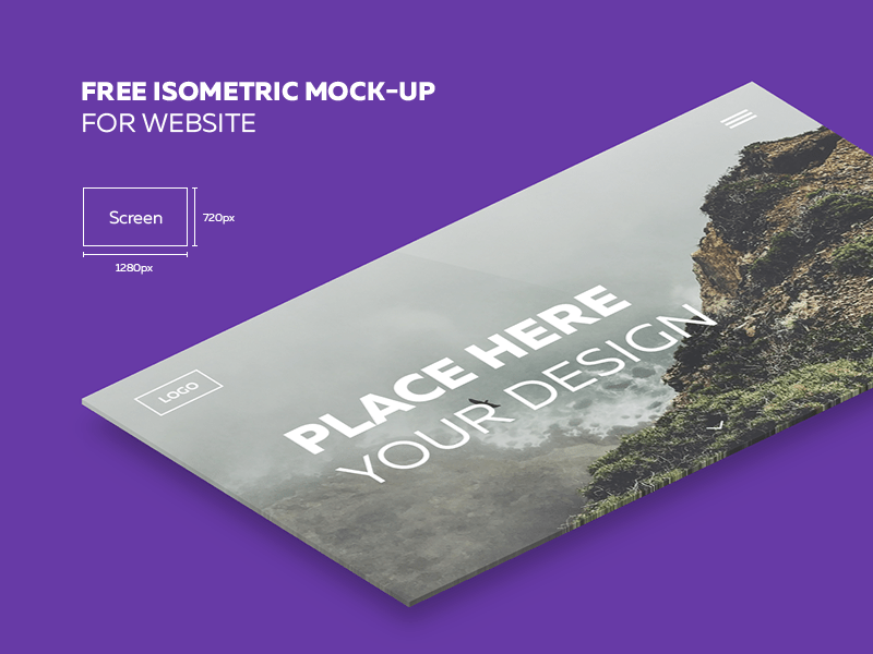 Isometric Website Mockup Free PSD Download PSD