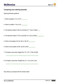 Comparing And Ordering Decimals Worksheets For Grade 4 ...