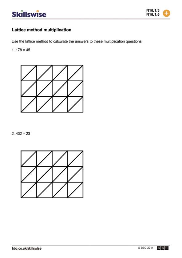 Lattice method multiplication