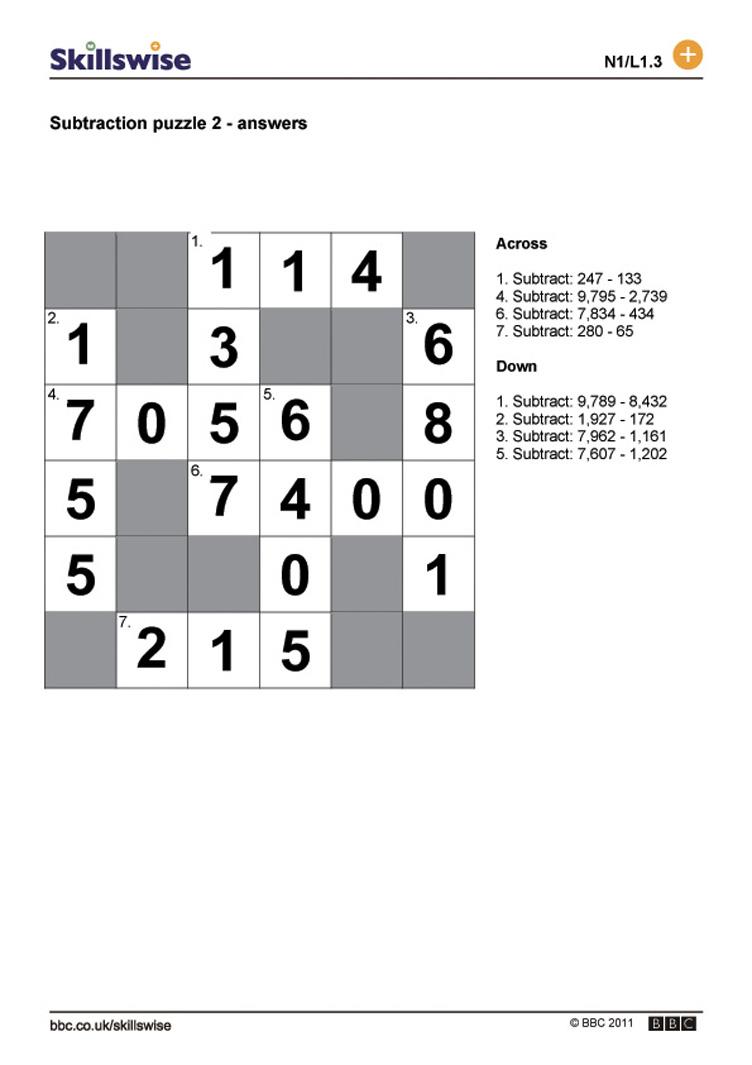 Subtraction puzzle 2