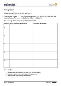Multiples And Factors Worksheet