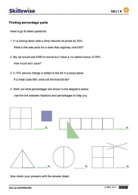 Easy Percentages Worksheet - Kidz Activities