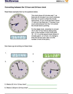 Time and date worksheet preview also converting between the hour clock rh bbc
