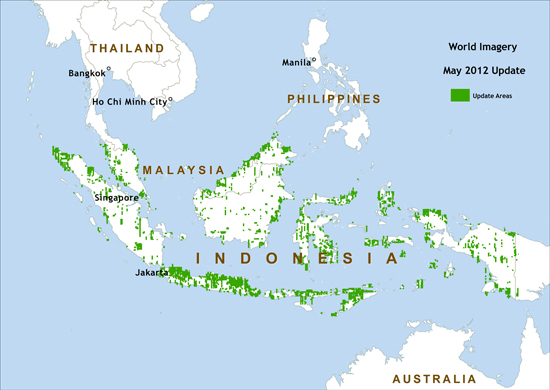 Peta daerah pembaruan citra IKONOS di Indonesia dan Malaysia