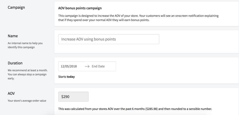 Customize the AOV incentive campaign.