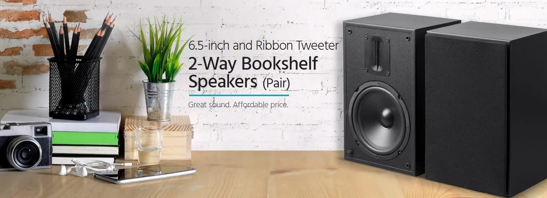 mp-65rt 6.5in and ribbon tweeter 2-way bookshelf speakers (pair