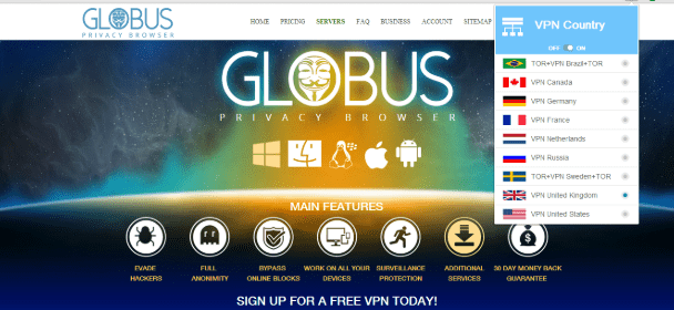 Globus free VPN browser