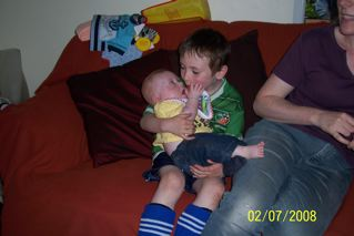 Chris reunited with his wee brother