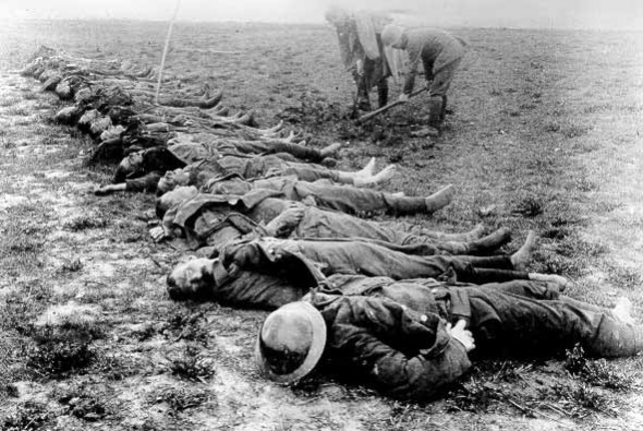 British dead awaiting burial on the Somme