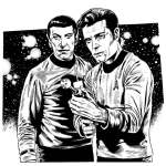 Martin Geraghty created this art featuring Martin Landau as Spock and Jack Lord as Captain Kirk for Star Trek Magazine.