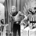Buster Crabbe as Flash Gordon and Charles Middleton as Ming the Merciless in the 1936 Flash Gordon film serial based on the comic strip created by Alex Raymond