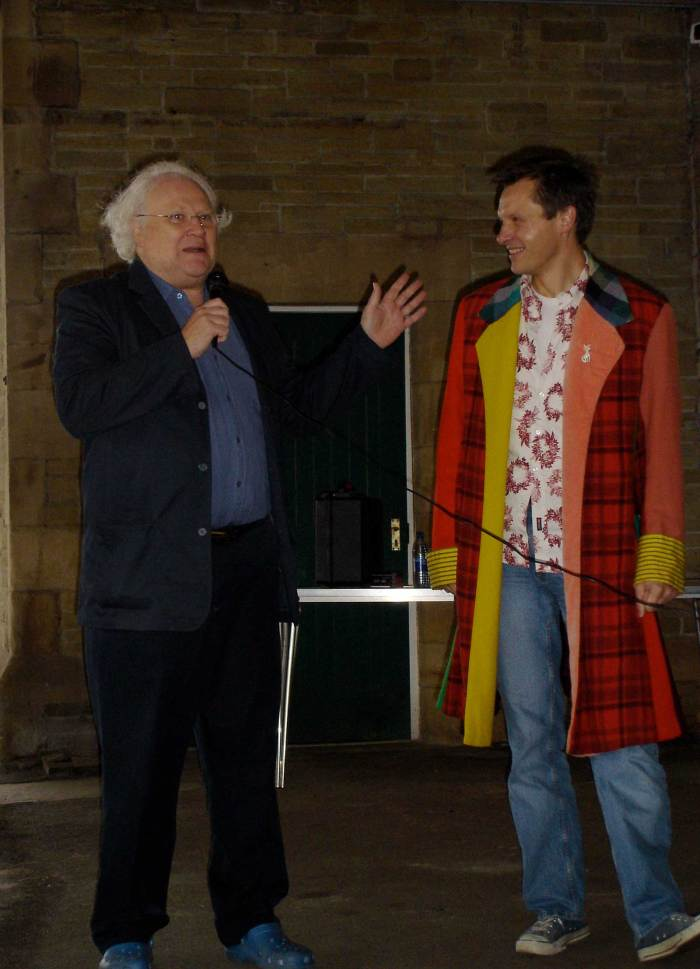 Colin Baker with John Ainsworth on Carnforth Station