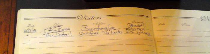 The Doctor visits Carnforth Railway Station - Visitor's Book fun