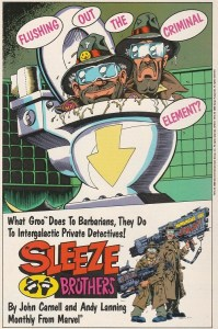 A house ad for The Sleeze Brothers series that ran in US Marvel Comics