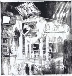 Art for the unpublished Big Numbers 3 by Bill Sienkiewicz. Script by Alan Moore