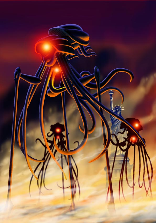 An illustration By Paul McCaffrey for an article about HG Wells War of the Worlds