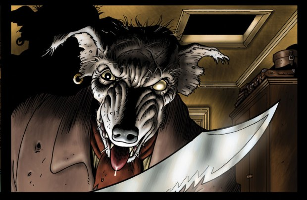 Mastock is a truly horrific villain and there are panels featuring him that might make your hair stand on end. Or your cat's. Art © Bryan Talbot