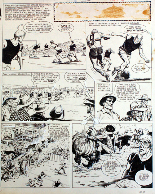 An original page of art from Tiger & Hurricane 1967 featuring Roy of the Rovers and Melchester Rovers overcoming adversity on the pitch.