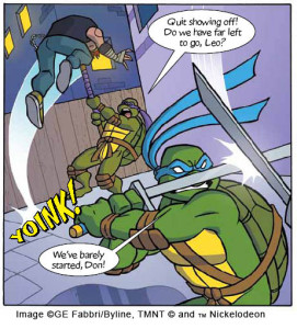 Art from one of David Baillie's Turtles strips by the talented Abi Ryder