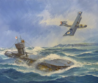 World War One Royal Navy E Class submarine with a flying boat - art by Ron Jobson
