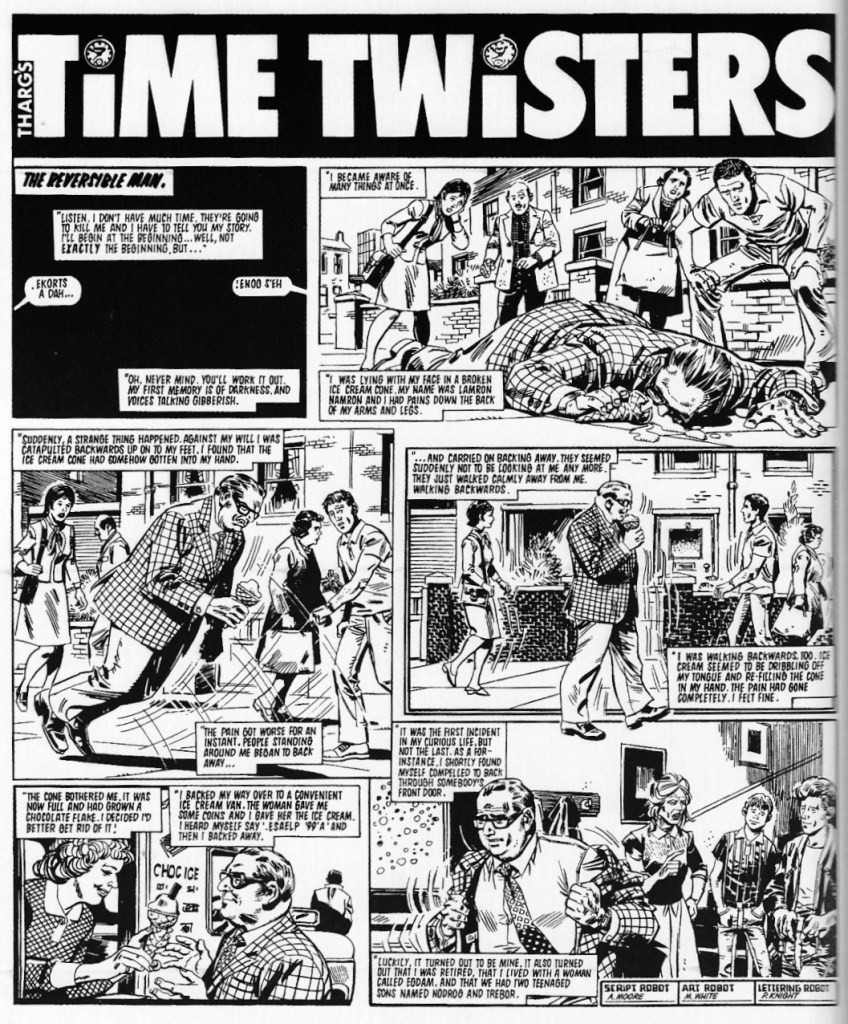 "A page from the ""Tharg's Time Twisters"" story ""The Reversible Man"", written by Alan Moore, art by Mike White"