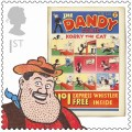 Wild-west hero Desperate Dan, who first appeared in December 1937 is the star of The Dandy stamp, released this week. The world's strongest man, he shaves with a blow torch ands eats cow pies complete with the horns.