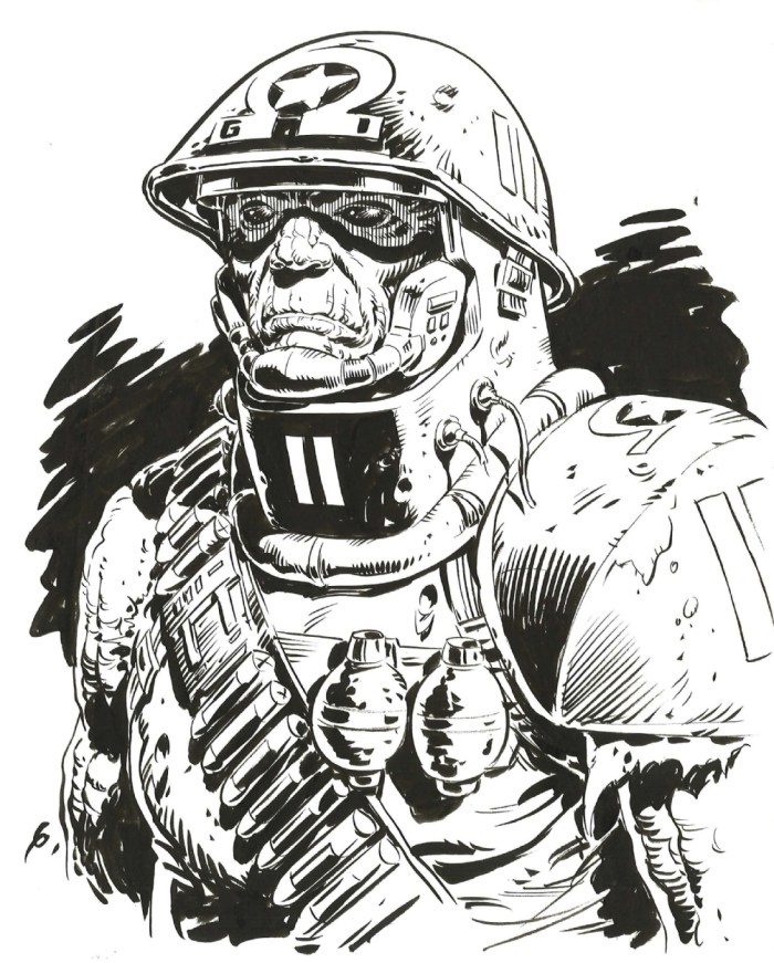 Rogue Trooper Concept Art by Dave Gibbons - Inks