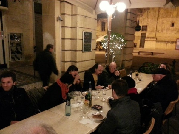 The celebratory meal in Valletta, in front of the St John's Co-Cathedral. Photo courtesy Malta Comic Con