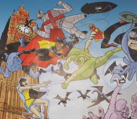 A large poster image from the superhero strip Retroactive