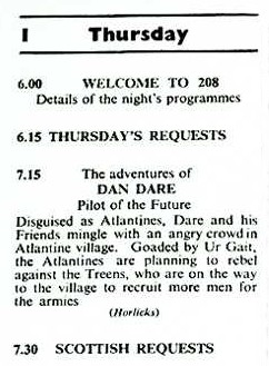 A listing for the Dan Dare radio show on Radio Luxembourg