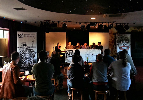 Ciaran Marcantonio, Robert Curley, Hilbo Lawler, Darrin 0'Toole, Stephen Mooney, and Kevin Logue on the first panel at 2D Comic Book Festival. Photo: Maura McHugh