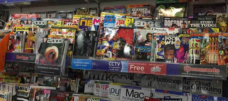"These snapshots of the ""teen"" comics section of WHSmith Lancaster in 2017 indicate just how many comics are vying for space, and the different ways they are promoted with ""pop out"" bins and shelving stickers. Which seem to have worked for Commando, which has apparently sold out!"