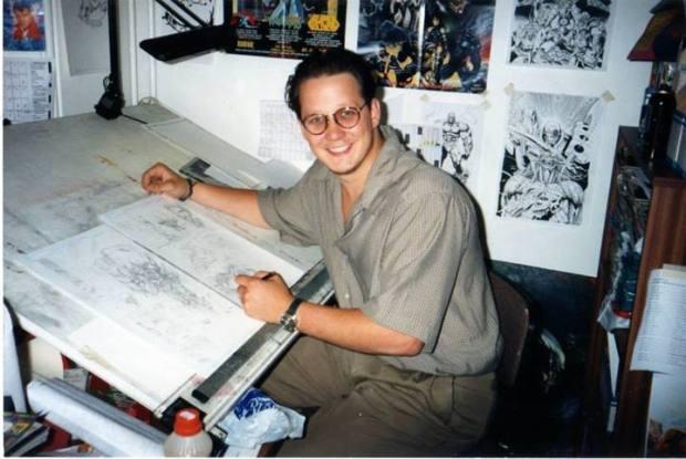 Death's Head II artist Liam Sharp in the Marvel UK 'Bullpen' - the Arundel House basement, circa 1994. Photo: Tim Quinn.