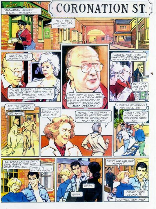 Sample art for a proposed 'Coronation Street' comic proposed by Tim Quinn while at Marvel UK.