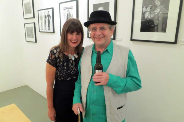Sophie Aldred and Sylvester McCoy at the launch event for the 'Sophie's World' exhibition. Photo by and © Steve Cook. Used with permission.