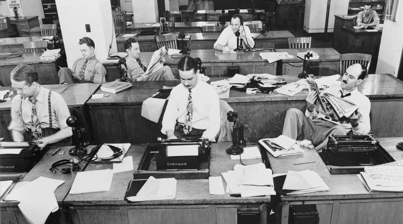 Newsroom of the New York Times newspaper in 1942