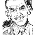 A caricature of Chick Chickley by Gordon Livingstone, featured in Peter Richardson's fanzine, 'Achtung Commando'.