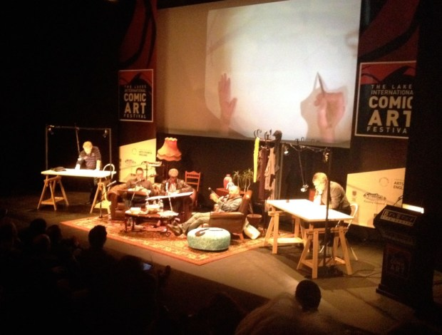 Carlos Ezquerra, Duncan Fegredo, Doug Braithwaite and Jose Munoz on satge for the Lakes Festival's opening 'Big Draw' event last night. Pete Docherty in charge (sort of...)