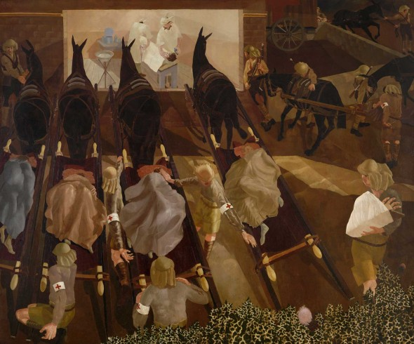 Travoys arriving with wounded by Stanley Spencer Travoys, 1919. Image courtesy Imperial War Museums