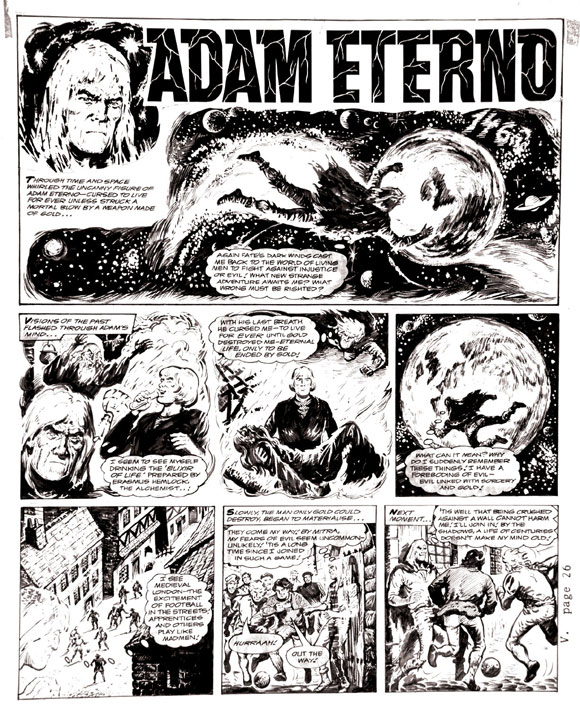 The origin of Adam Eterno is retold in this page by Solano Lopez for a 1970s issue of Valiant.