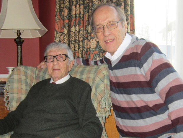Veteran British comic artist Joh Gillatt with writer and editor Barrie Tomlinson, January 2014. Photo courtesy Barrie Tomlinson
