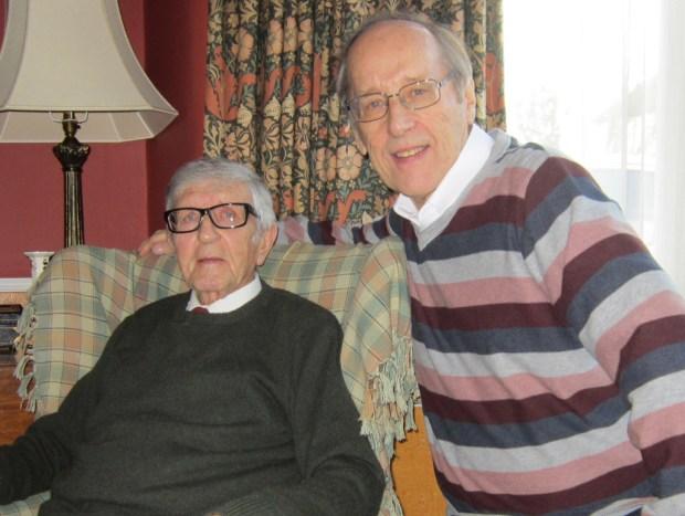 Veteran British comic artist Joh Gillatt with writer and editor Barrie Tomlinson, January 2014. Photo courtesy Barrie Tomlinson
