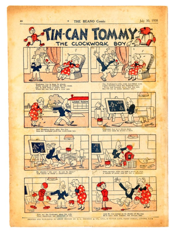 An interior page from the offered copy of the first ever issue of The Beano.