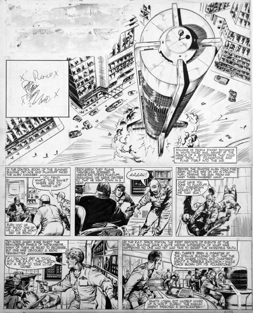 "A page of ""Jet Ace Logan"" drawn by John Gillattt hat featured  in Tiger, cover dated  2nd April 1960."
