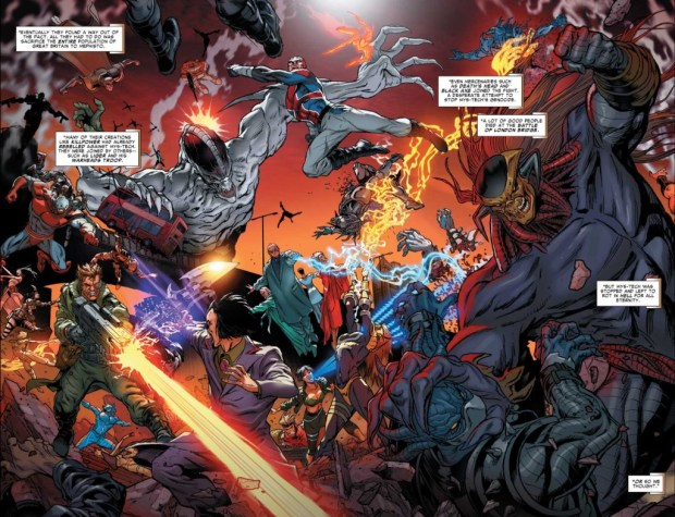 The Battle of London in Revolutionary War: Alpha. But just when did it take place in Marvel continuity? © Marvel Comics